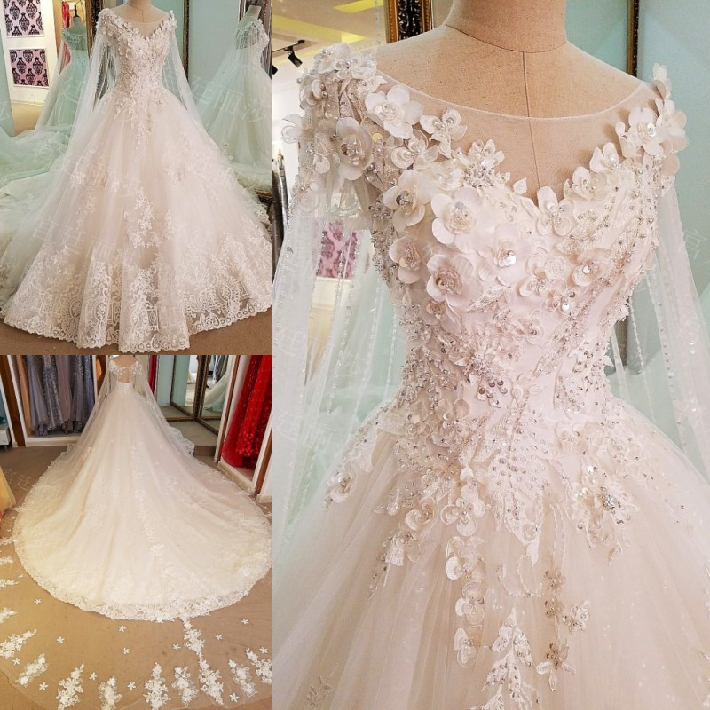 LS76484 Luxury Bridal Wedding Gowns 2017 Beaded Crystal