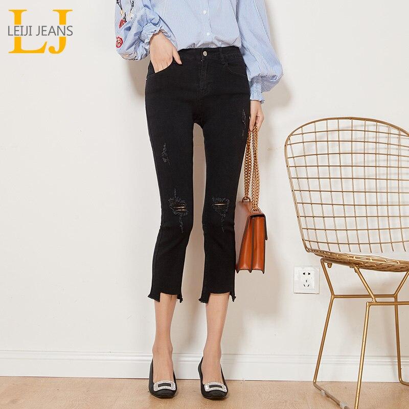 LEIJIJEANS Autumn Casual Style Ripped Tassel Distreess Mid Waist Ankle Length Plus Size Slim Flare Black Jeans Women 6252