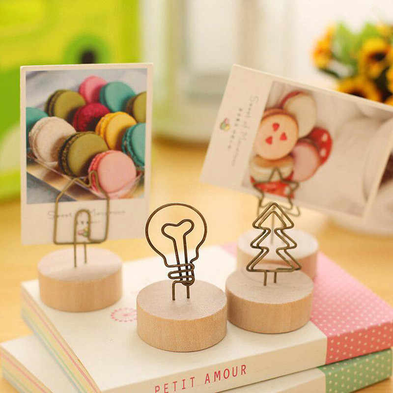 Hot Creative Round Wooden Iron Photo Clip Memo Name Card Pendant Furnishing Articles Picture Frame DIY Family Photo Decoration