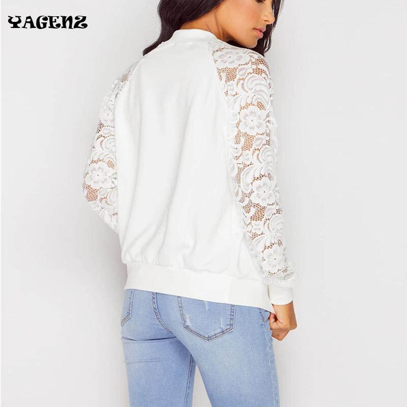 2019 Women   Jackets   Autumn Fashion Coats Long Lace Sleeve Casual   Basic     Jacket   Female   Jacket   Zipper Spring Fashion Slim Tops B22