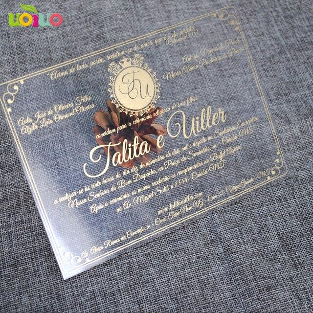 30pcs print custom acrylic wedding invitation card