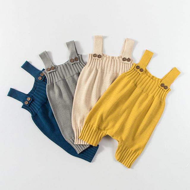 Do bebê do Algodão Macacão Sem Mangas Meninas Knitting Sweater Moda Sólida Roupas para Recém-nascidos Traje Romper Do Bebê para a Primavera