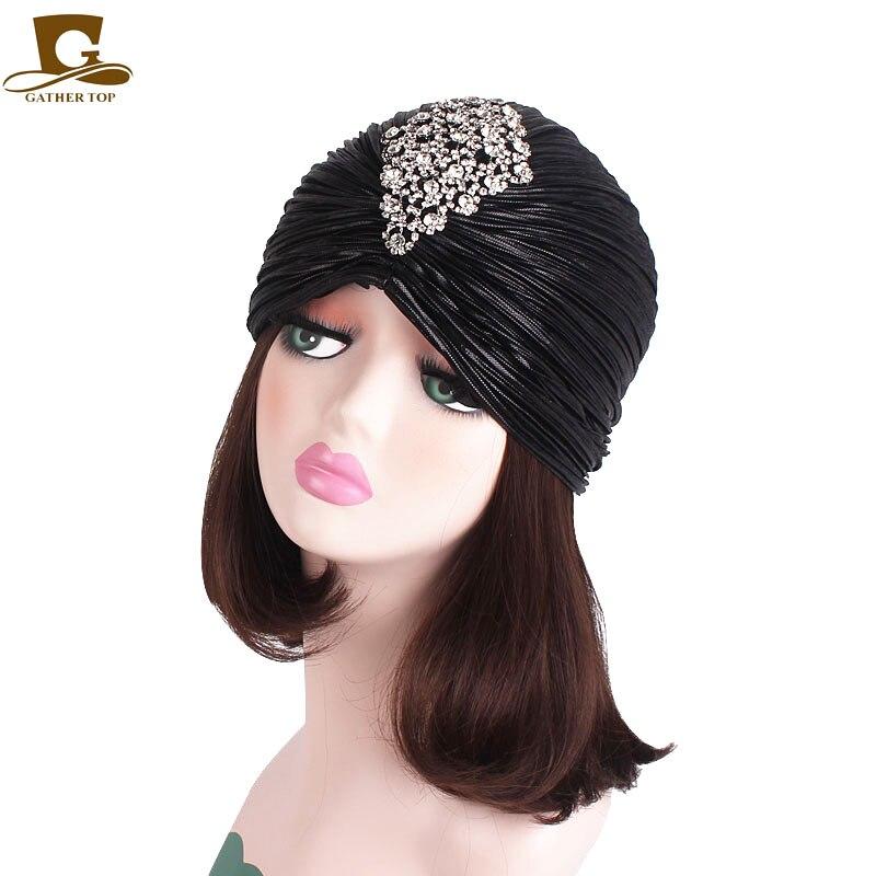 New Luxury diamante Metallic Shinny Ruffle Turban Head Wrap Chemo Cancer Hair Loss Cap Hijab Pleated Indian Cap hair accessories