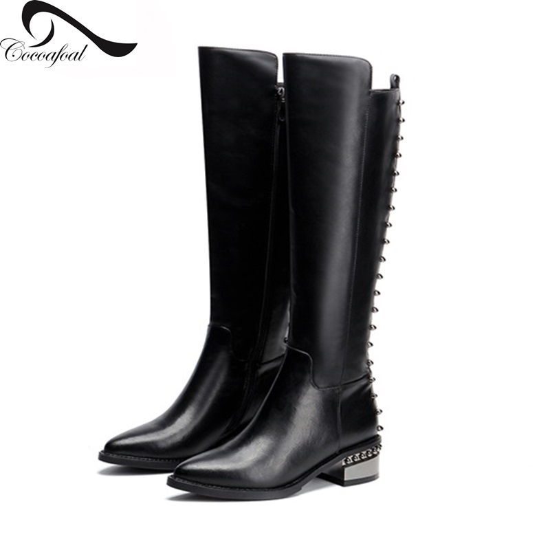 ФОТО Motorcycle Boots Women Winter Leather 2017 Short Plush Real Leather Knee-High Boots Women Big Size 33-41 Pointed Toe Women Shoes