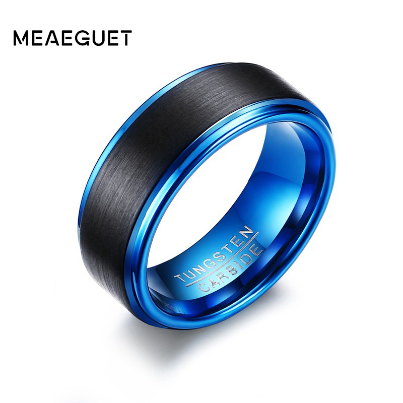 Meaeguet 8MM Wide Black/Blue Tungsten Carbide Wedding Bands For Men Trendy Matte Finished Rings Jewelry USA Size