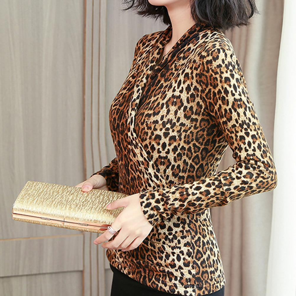 2019 New Yfashion Women Fashion Leopard Printed Crossover V neck Slim Shirt in T Shirts from Women 39 s Clothing