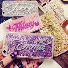 For 5s 6s 7 8 X plus FOR Samsung s5 s6 s7 s8 S9 edge plus note 4 5 8 Exclusive Customize Name Personal Glitter soft phone case