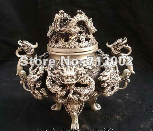 Vintage Marked Chinese Dynasty Silver Nine Dragons Statuary Incense Burner Censer