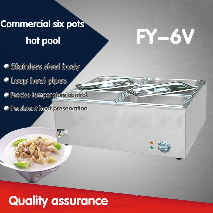 1 PC stainless steel  electric bain marie with 6 pans for commerical kitchen Insulated electric Shang Chi machine 220v 600w 1 2l portable multi cooker mini electric hot pot stainless steel inner electric cooker with steam lattice for students