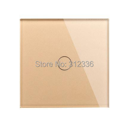 Free shipping 1 gang 1 way Champagne Color  wall switch Glass touch switch panel  control tempering glass  thickness is 5 mm smart home eu touch switch wireless remote control wall touch switch 3 gang 1 way white crystal glass panel waterproof power