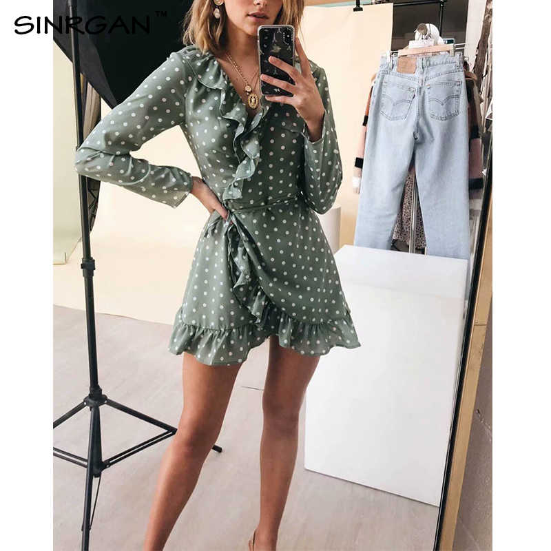 SINRGAN Ruffles Elegant Polka Dot Green Dresses v neck Long sleeve short mini vintage spring dress Bohemian vestidos
