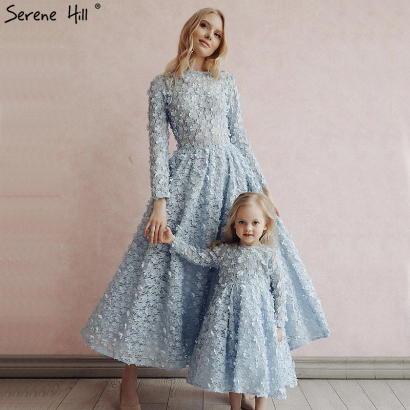 Latest Design Blue Crystal Flowers Prom Dresses 2019 Muslim Long Sleeves Fashion Prom Gowns Serene Hill BLA60905