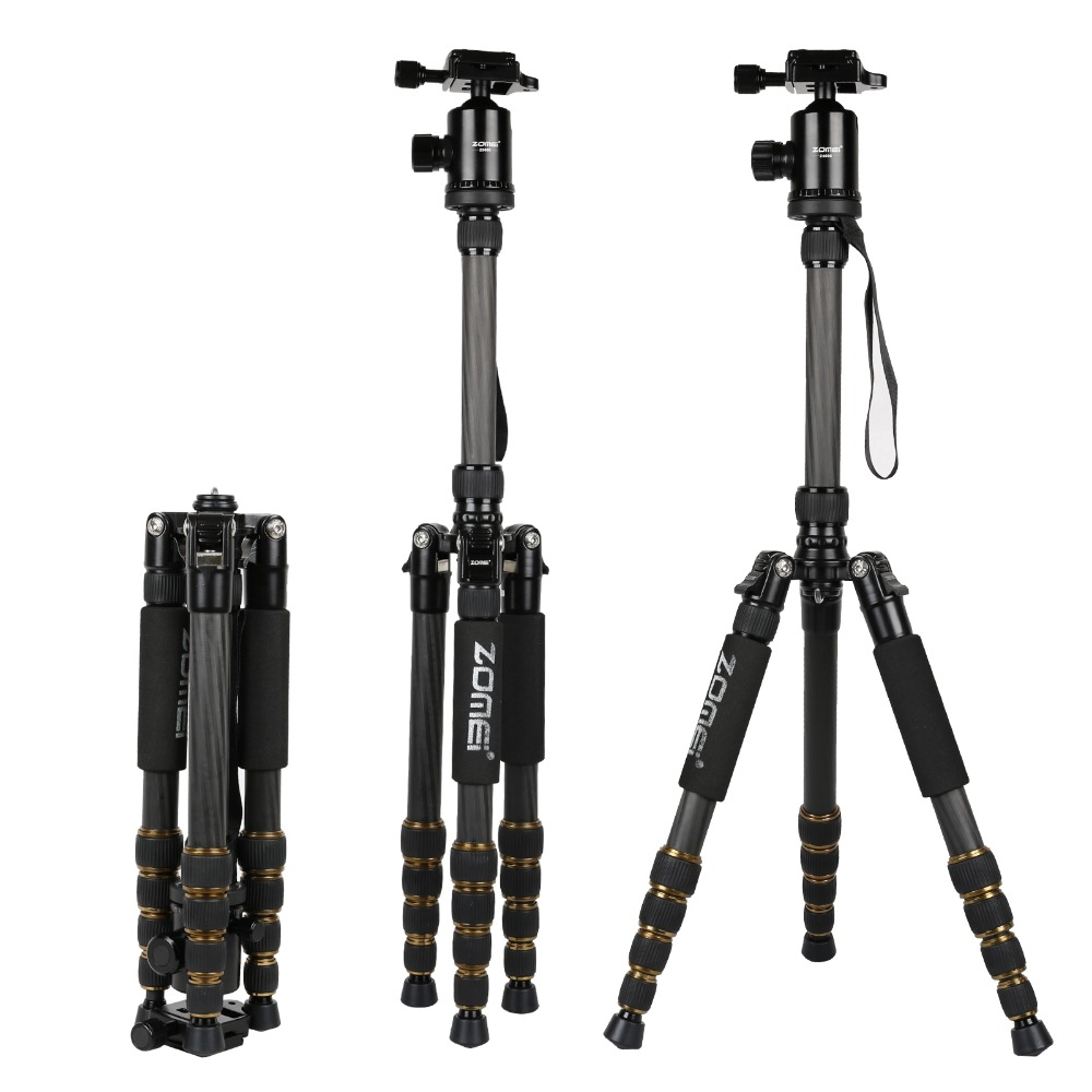 ZOMEI Z699C Professional Portable Travel Carbon fiber camera Tripod Monopod+Ball head for Digital SLR DSLR Camera sirui a 1205 a1205 tripod professional carbon fiber flexible monopod for camera with y11 ball head 5 section free shipping