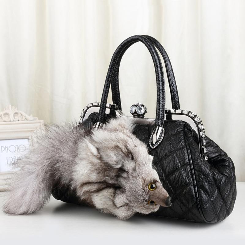 New Style Winter Leather Shoulder Bag Real Fox Fur Luxury Designer Boston Tote Bag Ladies Cute Fur Handbags With Diamonds 776