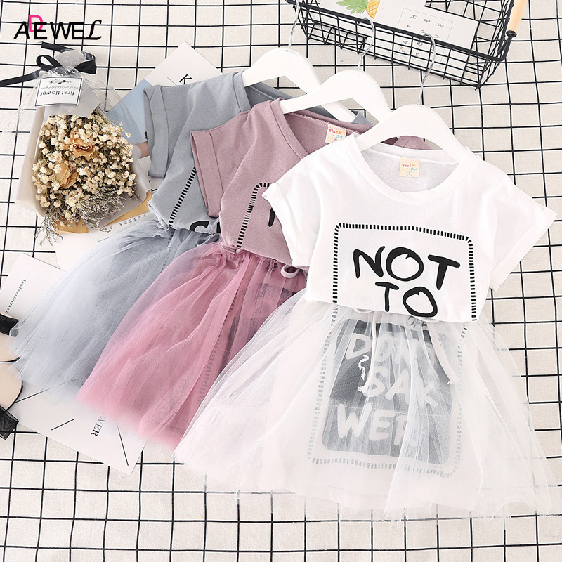 ADEWEL 2018 New Girls Summer Dress Cotton Mesh Children Princess Clothing Letter Printed Kids Dresses for Girl 2 3 4 5 6 7 Year 2018 teenage girls summer casual dress girls cotton dresses kids letter printed beach dress girls slim dresses vestidos cc804