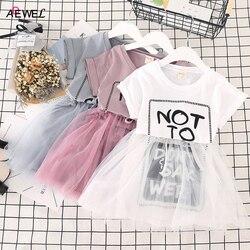 ADEWEL 2019 New Girls Summer Dress Cotton Mesh Children Princess Clothing Letter Printed Kids Dresses for Girl 2 3 4 5 6 7 Year