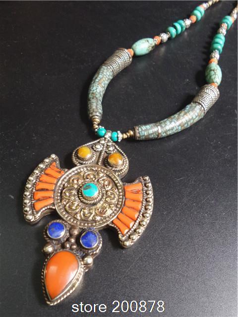 TNL183 Master Nepal ottone Indiano intarsiato di Pietra pendente della collana di corallo Multi Dichiarazioni Grandi Ciondoli Collana di BOHO-in Collane con ciondolo da Gioielli e accessori su  Gruppo 1