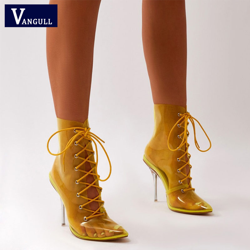 Vangull Women Lace-Up High Heels 2019 New Spring Transparent Crystal Shoes Ladies Elegant Ankle Boots Pointed Toe Party ShoeVangull Women Lace-Up High Heels 2019 New Spring Transparent Crystal Shoes Ladies Elegant Ankle Boots Pointed Toe Party Shoe