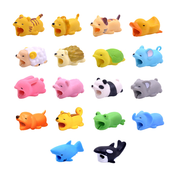 CHIPAL Cute Bite Cable Protector Cable Winder Chompers Cat Dog Duck Rabbit Koala Animal Bites Doll Model Phone holder For iPhone