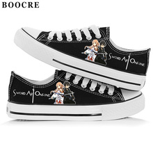 Japan Anime Male Female Cartoon Student Cosplay Shoe Sword Art Online Sao Print Canvas Valentine Hand-painted Low Flat Shoes