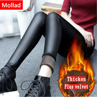 Mollad New 2017 Winter Faux Leather Leggings Slim Classic Fashion Flat Warm Thick Leather Pants Women