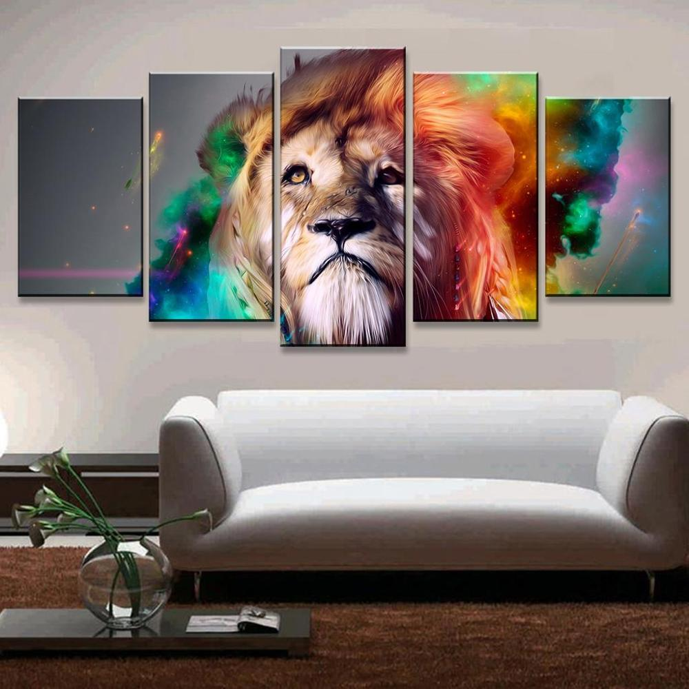 Wonderful AtFipan 5 Pcs Animal Wall Art Modular Pictures Colorful Lion Artistic  Canvas Oil Poster Home Decor Wall Pictures For Living Room In Painting U0026  Calligraphy ...