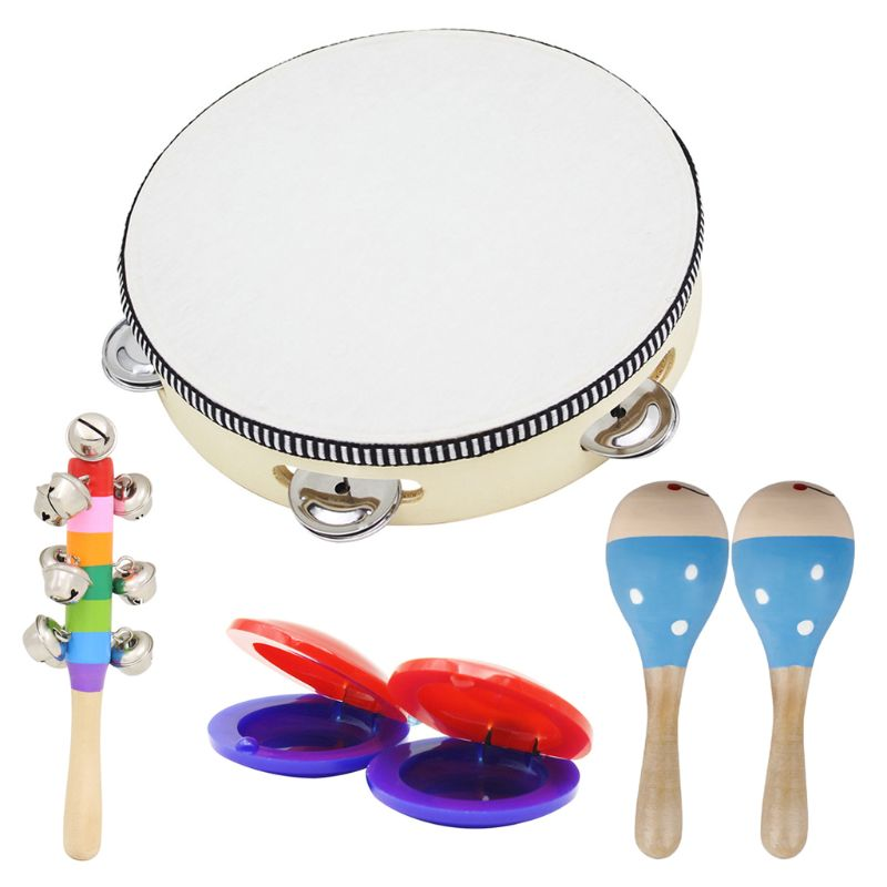 Wooden Musical Toys 2 Maracas 1 Tambourine 2 Castanets 1 Hand Bell For Toddler Kids Musical Orff Instruments Tambourine