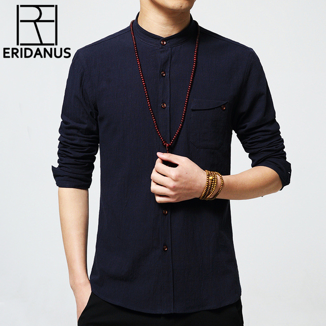 2016 Spring New Arrival Men Casual Shirts Men's Fashion Pure Color Slim Fit Linen Cotton Long Sleeve Stand Collar Shirt 5XL M052