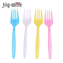 8pcs Colorful Birthday Party Disposable Plastic Forks Baby Shower Party Picnic Pack Tableware Unicorn Party Supplies