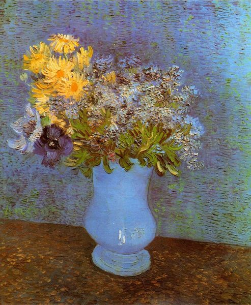 Decoration Oil Painting Van Gogh Canvas Flowers Painting Vase With