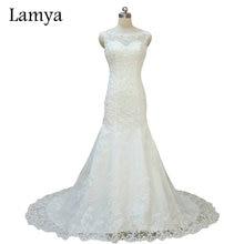 Ρεάλ Φωτογραφία Προσαρμοσμένο μέγεθος Lace Γοργόνα Δικαστήριο Τρένο Γάμος Φόρεμα 2015 Μοντέρνο ύφος νυφικό φόρεμα vestido de noiva WD2705