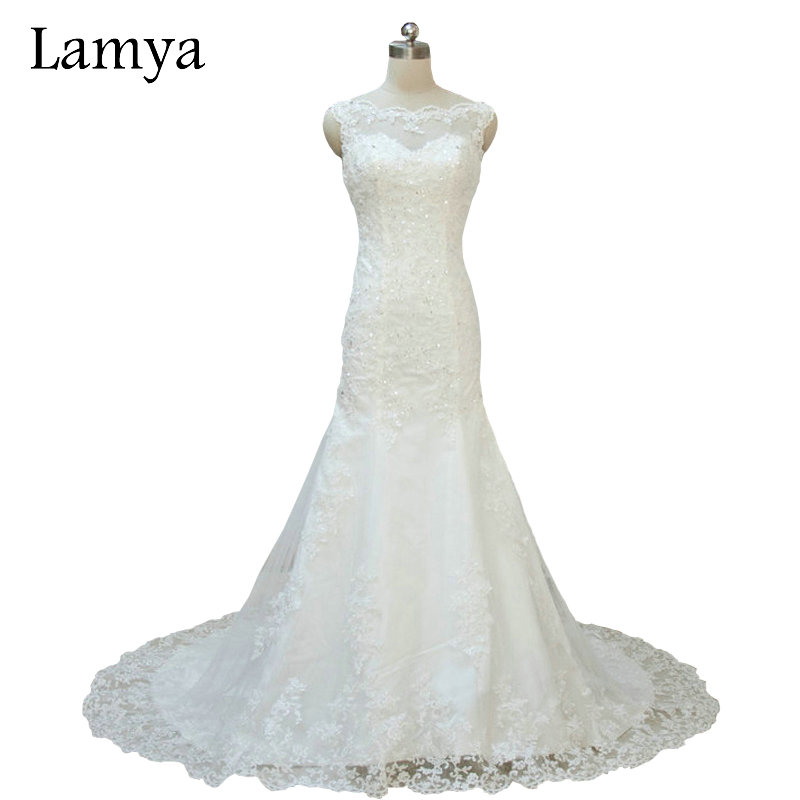 Lamya original photo custom size lace mermaid court train for Custom mermaid wedding dress