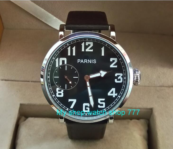 46mm parnis  Black dial Asian 6497 17 jewels Mechanical Hand Wind movement men watch Leather Watchband Mechanical watches l2 limited edition watch 50mm big dial parnis men s watch asian 6498 mechanical hand wind pvd black watchcase 84aa