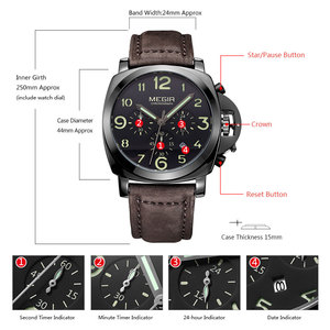 Image 5 - MEGIR New Watch Men Top Famous Brand Luxury Quartz Watches Male Clock Genuine Leather Men Water Proof Wrist Watches