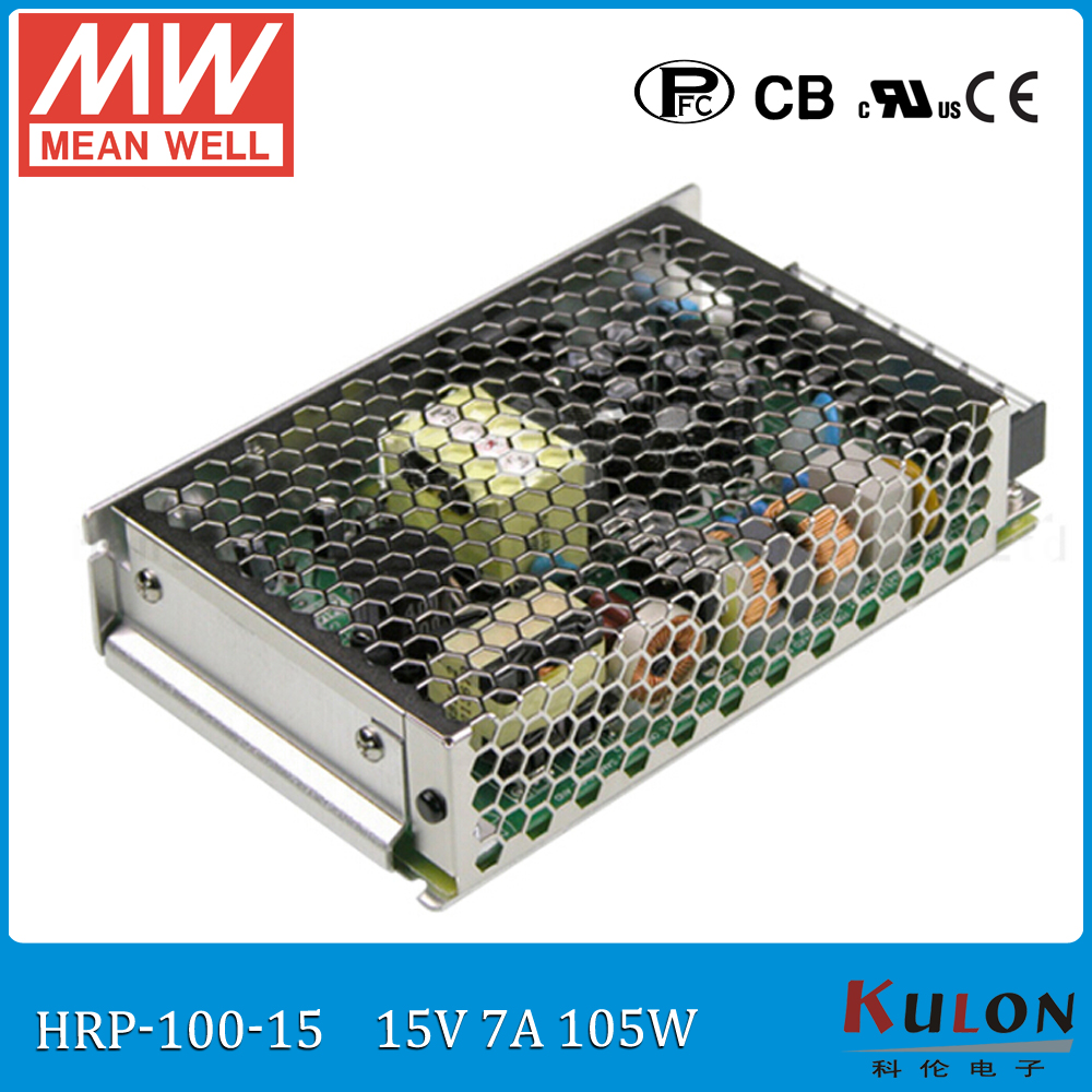 Original MEAN WELL HRP-100-15 single output 100W 7A 15V meanwell Power Supply 15V with PFC function best selling mean well se 200 15 15v 14a meanwell se 200 15v 210w single output switching power supply