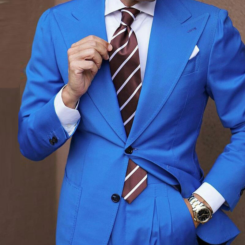 Wide Peaked Lapel Royal Blue Men Suits For Wedding 2019 Groom Tuxedos Prom Suits Man Blazers 2Piece Coat Pants Terno Masculino