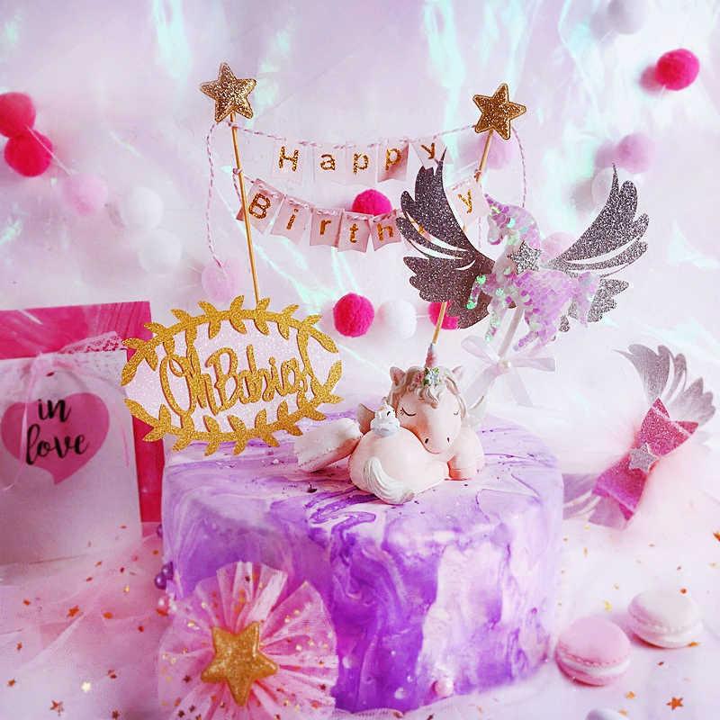 Yay kek Topper dekorasyon sevimli tüyler mutlu doğum günü pastası üst Logo Unicorn kek Topper düğün doğum günü aile parti malzemeleri