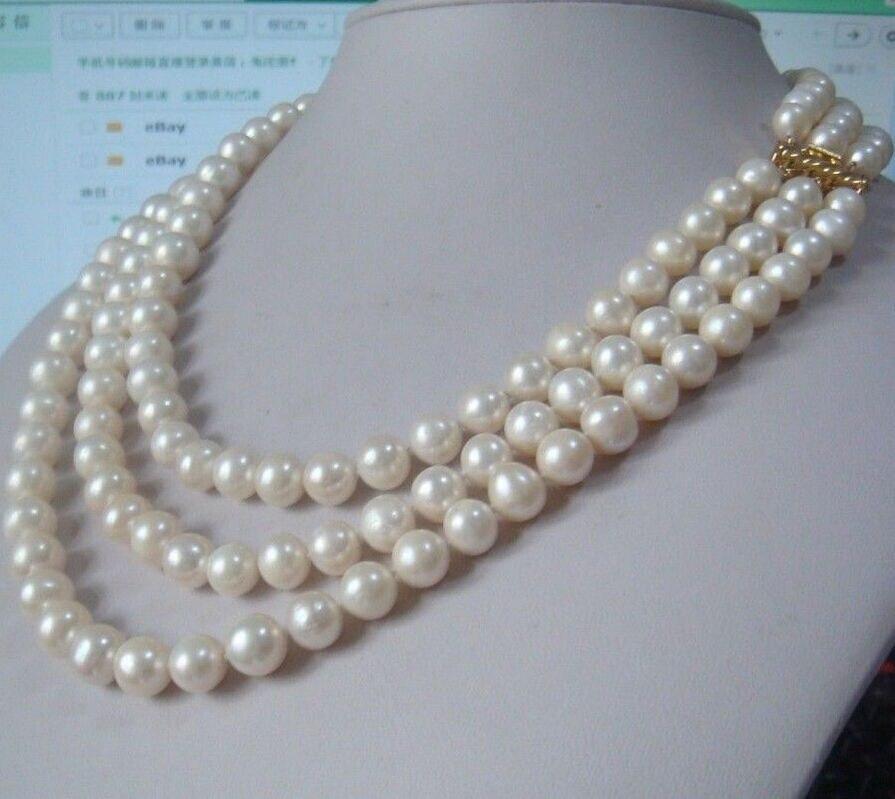 Vente de bijoux>> nouveau collier de perles blanches 3 rangées naturelles 9-10mm mer du sud 18