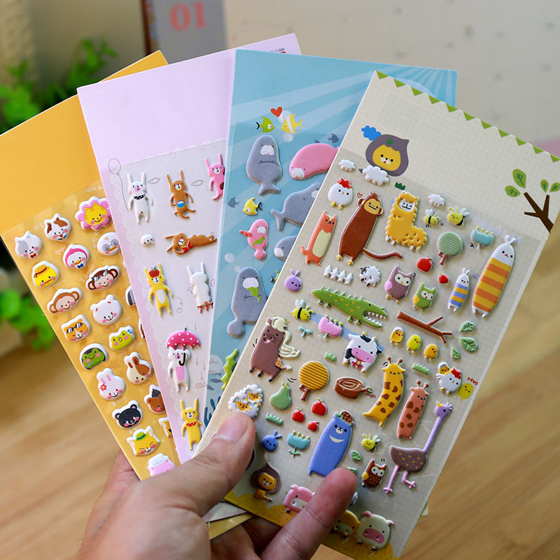 Kawaii 3d Cartoon Foam Sticker 1piece Cute Popular Style Children Gift Stickers Book Diary Decoration Sticky Notes