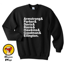 Jazz Musician Names Top Crewneck Sweatshirt Unisex More Colors XS - 2XL все цены