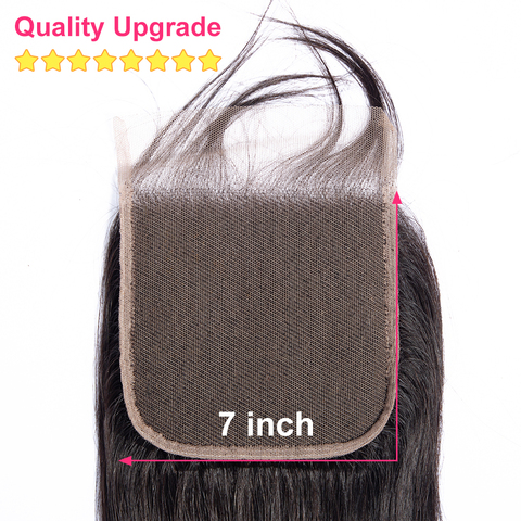 Bling Hair 7x7 Lace Closure Free/Middle/Three Part With Baby Hair Brazilian Body Wave Human Hair Closure 100% Remy Natural Color Multan