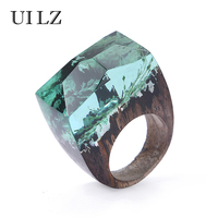 UILZ Green Plant Secret Wooden Resin Rings Unique Transparent Handmade Jewelry JWRP026