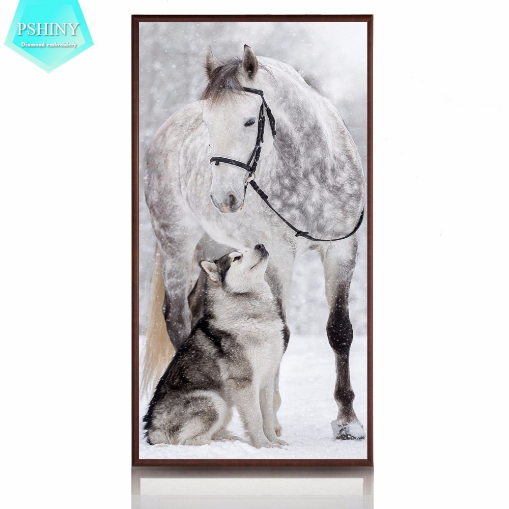 PSHINY 5D DIY Diamond embroidery sale Dog and Horse picture Full Square rhinestone mosaic animals Diamond Painting cross stich
