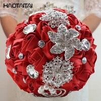 Wedding bouquet custom bride hand holding flower bride chest flower pink rose with petal green leaf drop drill DIY decor 2018