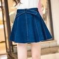 Горячая 2016 новых джинсовая мини-юбка джинсы юбки мода короткая юбка в складку Falda сплошной цвет симпатичные голубой ленты юбки M-4XL