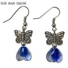 Handmade Jewelry Tibetan Silver Blue Coloured Glaze Heart Eardrops Earrings Danglers Women's Fashion Accessories Free Shipping