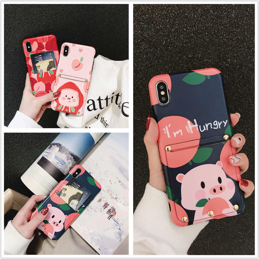 Cartoon cute pig pattern phone case For iPhone X 7 8 Plus XS MAX XR Fashion Cases with Wallet pocket card slot luxury back cover