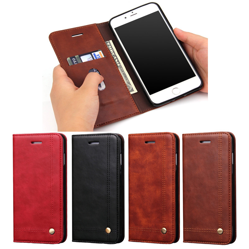For iphone7 Vintage Wallet PU Leather <font><b>Case</b></font> for iPhone 7plus Flip Book Phone Bag Cover with <font><b>Card</b></font> Holder Coque For <font><b>iPhone6</b></font> 6plus image