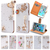 Luxury Stand Flip Litchi Leather Diamond Mirror Bowknot Flower Wallet Case For Apple Iphone 6 4