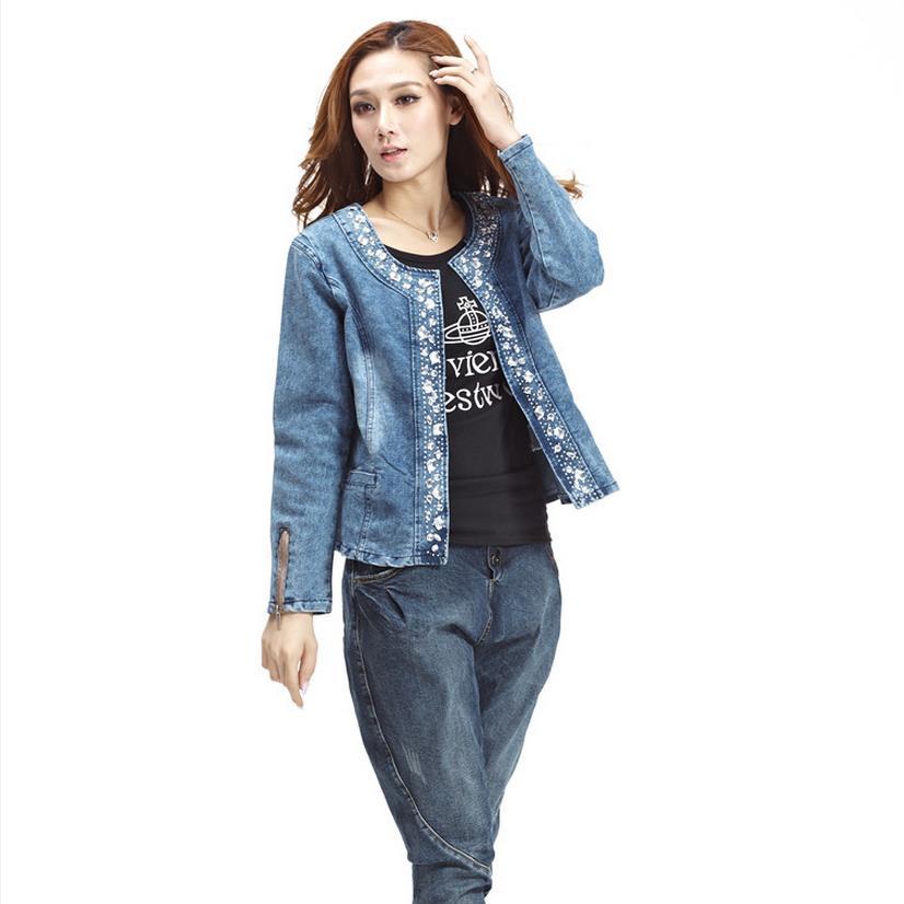 Plus Size 4XL jeans jacket women Denim Patchwork Outwear Jeans Coat For Women Retro Long-sleeved Jeans Rivets Jacket  W493